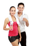 Drinking water after exercising Royalty Free Stock Photos