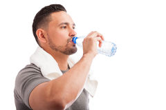 Drinking water after exercising Royalty Free Stock Images