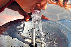 Drinking from water fountain Stock Photography