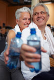 Drinking water in gym Royalty Free Stock Photo