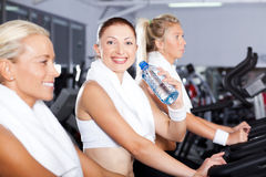 Drinking water in gym Stock Photos