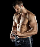 Drinking water in gym Stock Image