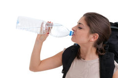 Drinking water lady tourist Royalty Free Stock Photos