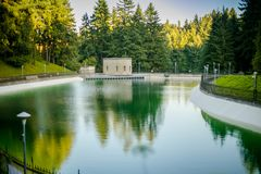 Drinking Water Reservoirs at Washington Park in Portland. Oregon, USA Stock Images