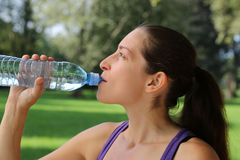 Drinking water after sports Royalty Free Stock Photography