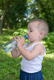 Drinking water toddler Stock Photo