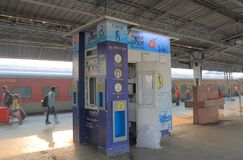 Drinking water vending machine kiosk India. Drinking water vending machine kiosk at Agra Canntt train station in Agra India Stock Photos
