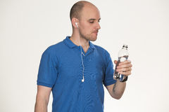Drinking water after working out royalty free stock photo
