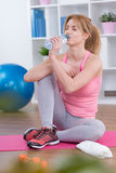 Drinking water after workout Stock Image