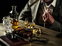 Drinking whiskey at night Royalty Free Stock Photography