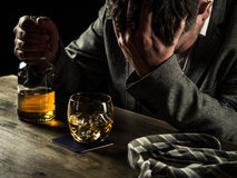 Drinking whiskey at night Stock Image