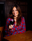 Drinking wine Stock Images
