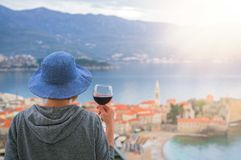 Drinking wine in Budva royalty free stock images