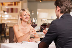 Drinking wine in luxury restaurant Stock Photo
