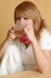 Drinking woman. Drinking ill woman Royalty Free Stock Photo