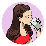 Drinking woman. Illustration of a young attractive woman drinking a glass of water Royalty Free Stock Photo