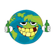 Drinking World globe cartoon Stock Photo