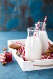 Drinking yogurt in bottles Royalty Free Stock Image