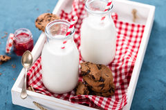 Drinking yogurt in bottles Stock Photos
