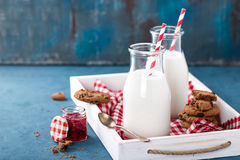Drinking yogurt in bottles Stock Image