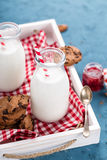 Drinking yogurt in bottles Stock Images