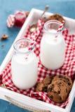 Drinking yogurt in bottles Stock Photography
