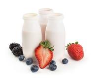 Drinking yogurts and berries Royalty Free Stock Image