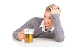 Drinking young guy with beer Stock Photo