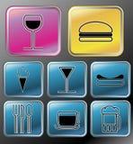 drinkmatsymboler Fotografering för Bildbyråer