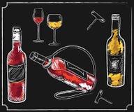 Drinkmenybeståndsdelar på den svart tavlan Arkivfoto