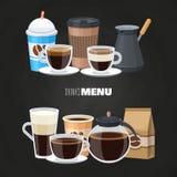 Drinkmenybeståndsdelar på svart tavla - plan design för vektorcoffee shop stock illustrationer
