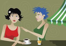 DRINKS. Two modern women sitting in a cafe, drinking coffee and beer Royalty Free Stock Photos