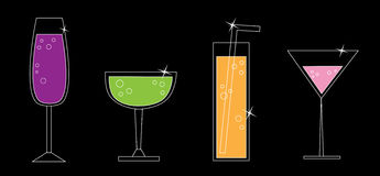 Drinks. Fun fancy colorful alcohol drinks Stock Photos