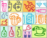 Drinks. Vector hand drawn color set Stock Images
