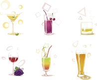 Drinks. Six different drinks in glasses vector illustration