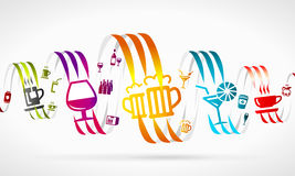 Drinks. Abstract illustration . Colorful ribbons and icons vector illustration