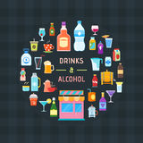 Drinks and alcohol banner. Drinks banner. Design template with icons of drinks and alcohol. Vector illustration Royalty Free Stock Photography