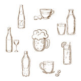 Drinks, alcohol and beverages flat icons Stock Images