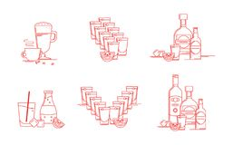 Drinks, alcohol drinks, beverages. Illustration set. stock image