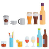 Drinks. Alcoholic and non-alcoholic. Flat design Stock Photos