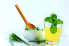 Drinks from aloe vera for health.  stock images