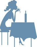 She drinks alone. This illustration is devoted a problem of a female alcoholism. The girl drinks a spirit in loneliness that is one of signs of the beginning of Stock Image
