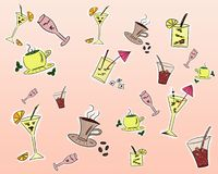 Drinks background. Cute colorful background of drinks stock illustration