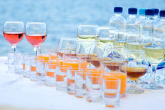Drinks on the banquet table Stock Photography