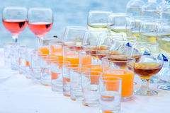 Drinks on the banquet table Royalty Free Stock Images