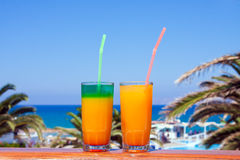 Drinks on a beach stock images