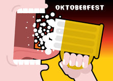Drinks beer from mug. Man and alcohol. Poster for Oktoberfest. N Stock Photo