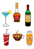 Drinks and beverage cartoon characters Stock Photography