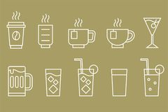 Drinks and beverage vector. Line icon set royalty free illustration