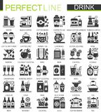 Drinks and beverages classic black mini concept symbols. Vector drink modern icon pictogram illustrations set. Stock Photography